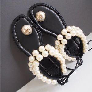 Tory Burch Leather Melody Pearl Sandals 7.5